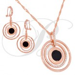 ornament Pendant Earrings circles double pink gold