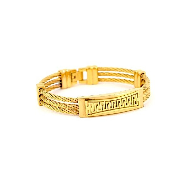 f08cce1ea43f0 bracelet for man - Steel 316 - golden with reasons graphics ...