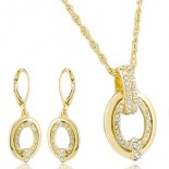 Adornment outstanding circles openwork rhinestones earrings