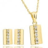 Parure rectangle ciselé de strass + boucles d'oreilles