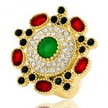 Bushing for woman - Oriental style - seam of diamonds cz red and green