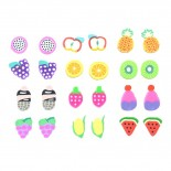 Lot de 12 paires de boucles d'oreilles - Silicone - Fruits
