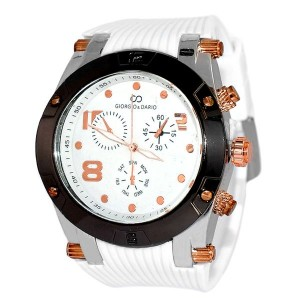 Montre pour homme - Silicone blanc - Blanc & or rose